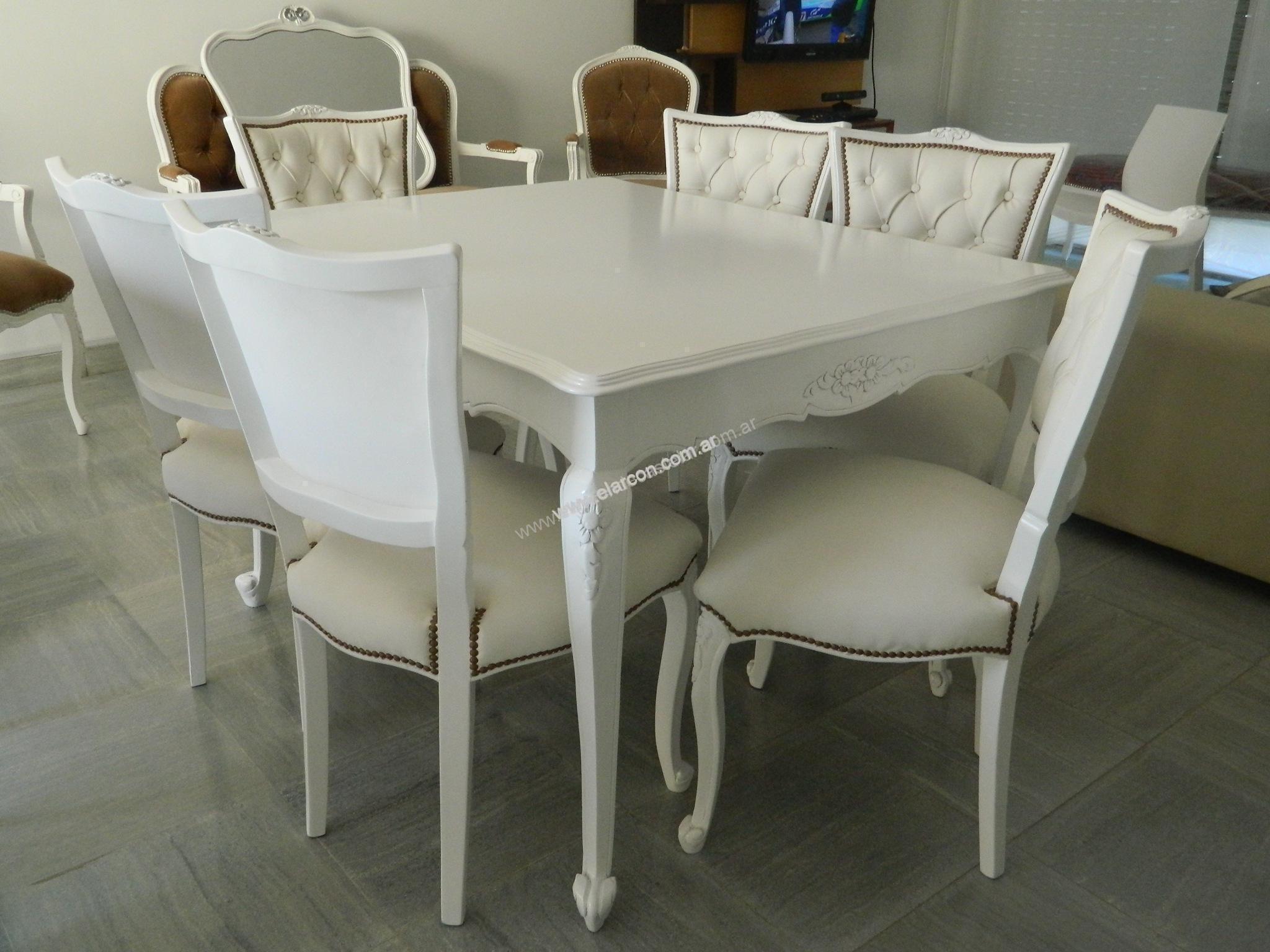 Juego de comedor provenzal blanco mesa 1 40mts el arc n for Juego de comedor de cocina