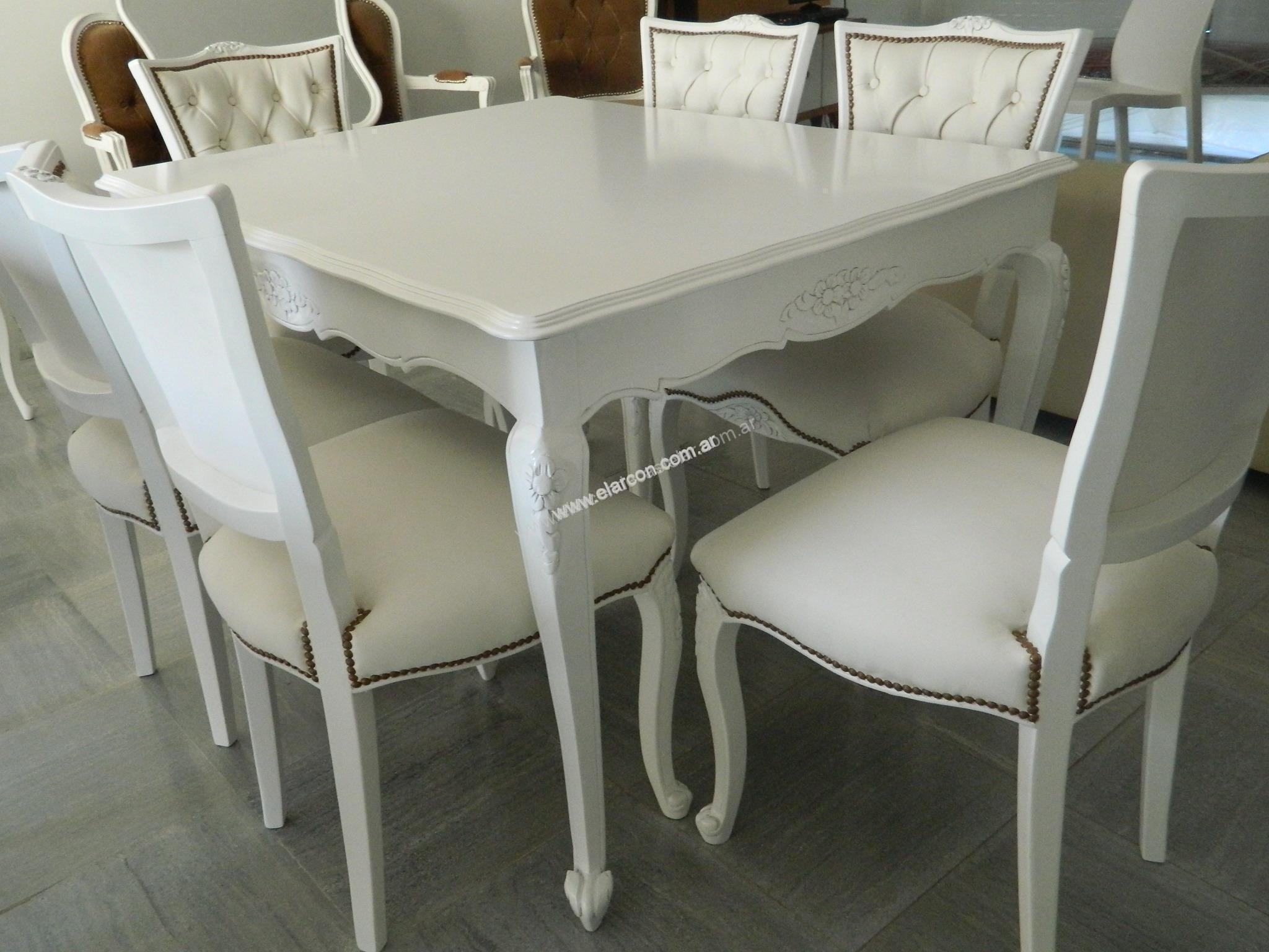 Juego de comedor provenzal blanco mesa 1 40mts el arc n for Mueble provenzal frances